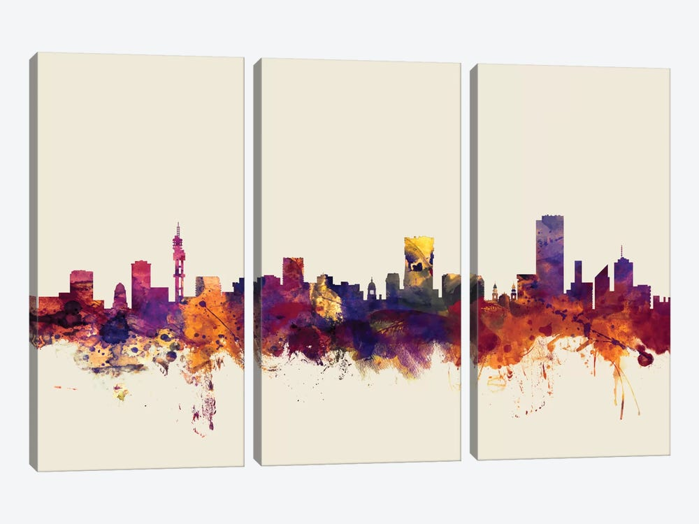 Skyline Series: Pretoria, South Africa On Beige by Michael Tompsett 3-piece Canvas Wall Art