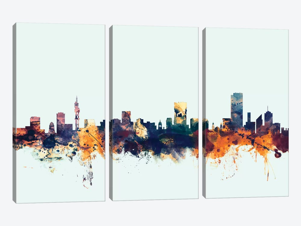 Pretoria, South Africa On Blue by Michael Tompsett 3-piece Art Print