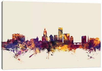 Skyline Series: Providence, Rhode Island, USA On Beige Canvas Print #MTO396