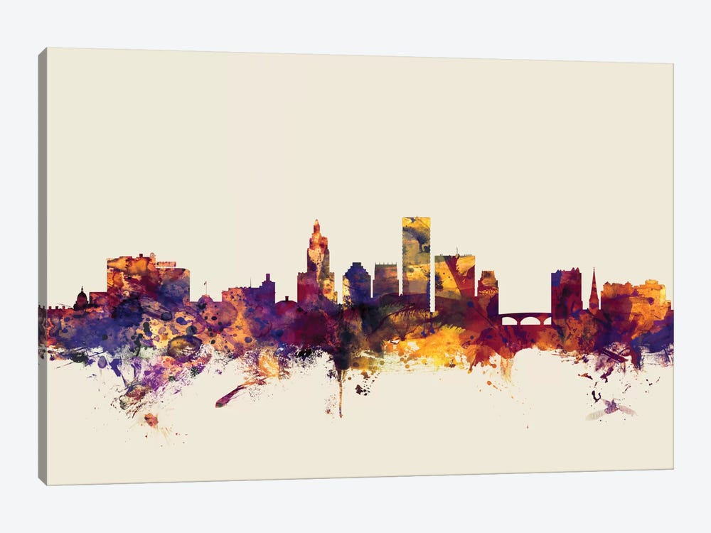 Providence, Rhode Island, USA On Beige by Michael Tompsett 1-piece Canvas Artwork