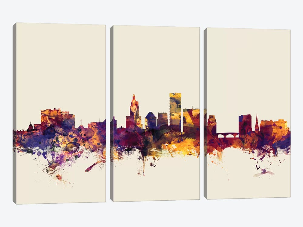 Providence, Rhode Island, USA On Beige by Michael Tompsett 3-piece Canvas Art