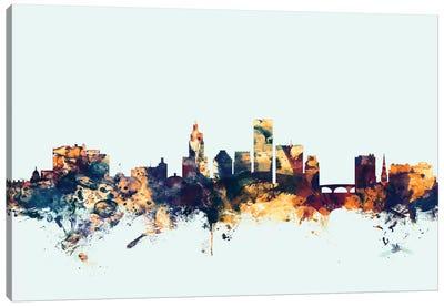 Skyline Series: Providence, Rhode Island, USA On Blue Canvas Print #MTO397