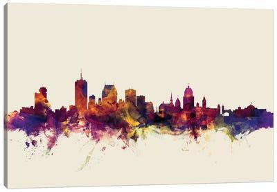 Skyline Series: Quebec, Canada On Beige Canvas Print #MTO398