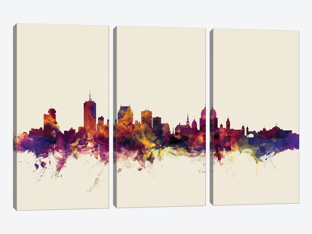 Quebec, Canada On Beige by Michael Tompsett 3-piece Canvas Artwork