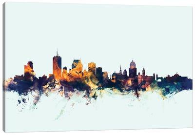 Skyline Series: Quebec, Canada On Blue Canvas Print #MTO399