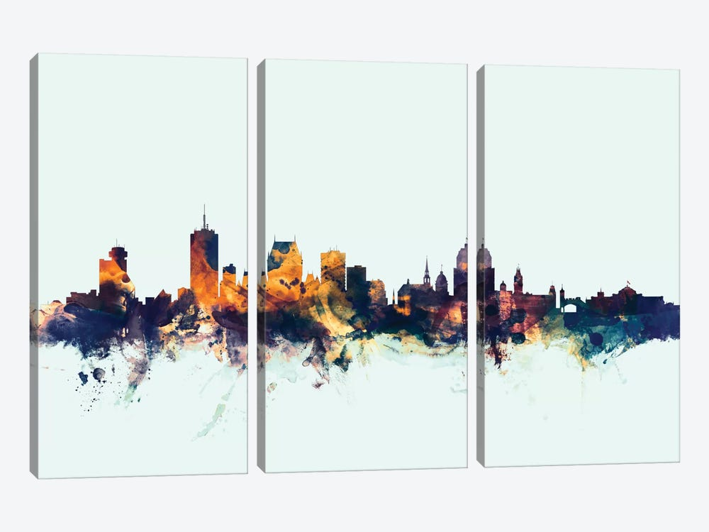 Skyline Series: Quebec, Canada On Blue by Michael Tompsett 3-piece Canvas Art Print