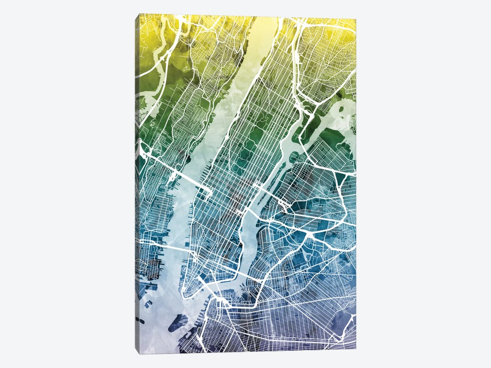 Color Gradient Urban Street Map Series: New York City, New York, USA II by Michael Tompsett 1-piece Art Print