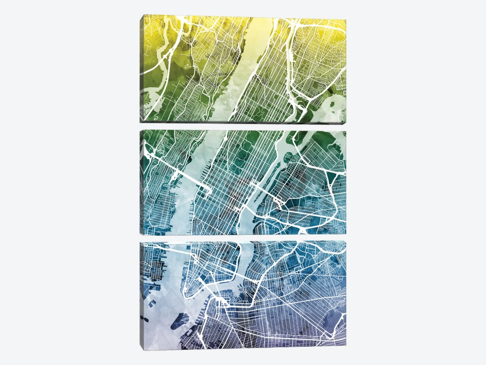 Color Gradient Urban Street Map Series: New York City, New York, USA II by Michael Tompsett 3-piece Canvas Art Print