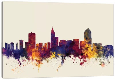 Skyline Series: Raleigh, North Carolina, USA On Beige Canvas Print #MTO400