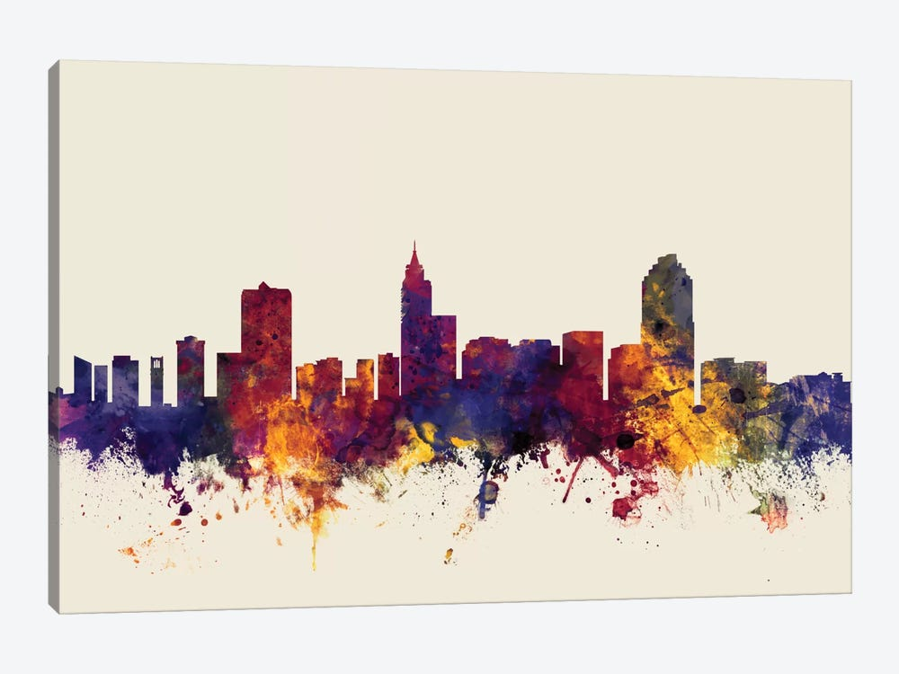 Skyline Series: Raleigh, North Carolina, USA On Beige by Michael Tompsett 1-piece Canvas Art