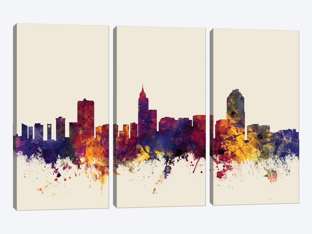 Raleigh, North Carolina, USA On Beige by Michael Tompsett 3-piece Canvas Artwork