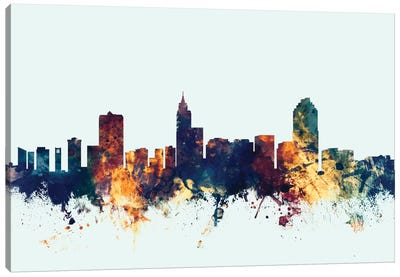 Skyline Series: Raleigh, North Carolina, USA On Blue Canvas Print #MTO401