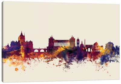 Skyline Series: Rome, Italy On Beige Canvas Print #MTO404
