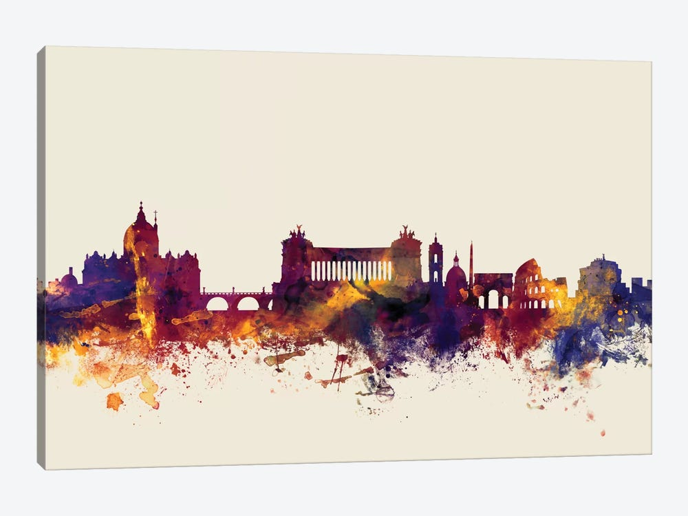 Skyline Series: Rome, Italy On Beige by Michael Tompsett 1-piece Canvas Art
