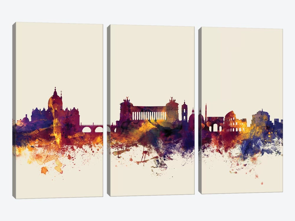 Skyline Series: Rome, Italy On Beige by Michael Tompsett 3-piece Canvas Wall Art