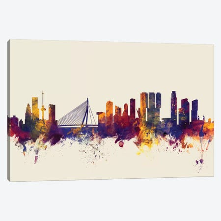 Rotterdam, The Netherlands On Beige Canvas Print #MTO406} by Michael Tompsett Canvas Art