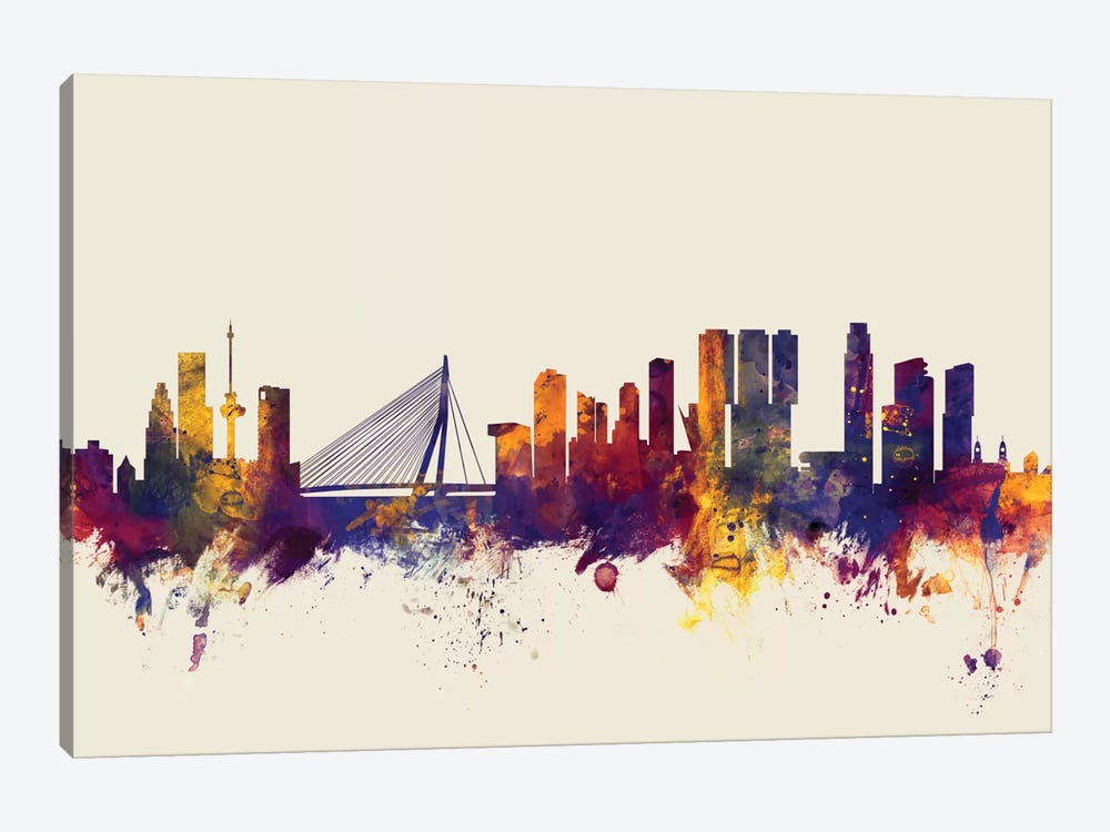 Skyline Series: Rotterdam, The Netherlands On Beige by Michael Tompsett 1-piece Canvas Art