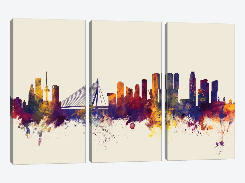 Skyline Series: Rotterdam, The Netherlands On Beige by Michael Tompsett 3-piece Canvas Art