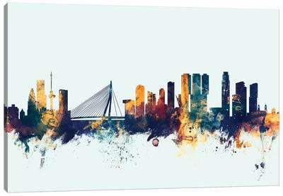 Rotterdam, The Netherlands On Blue Canvas Art Print
