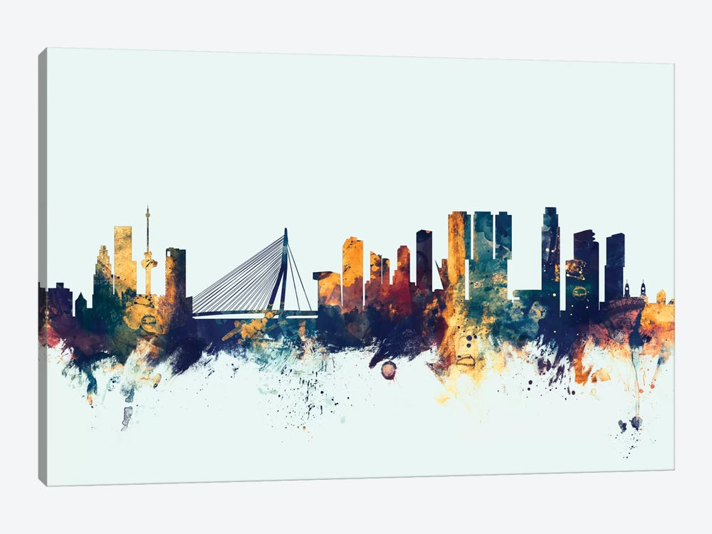 Rotterdam, The Netherlands On Blue by Michael Tompsett 1-piece Canvas Print