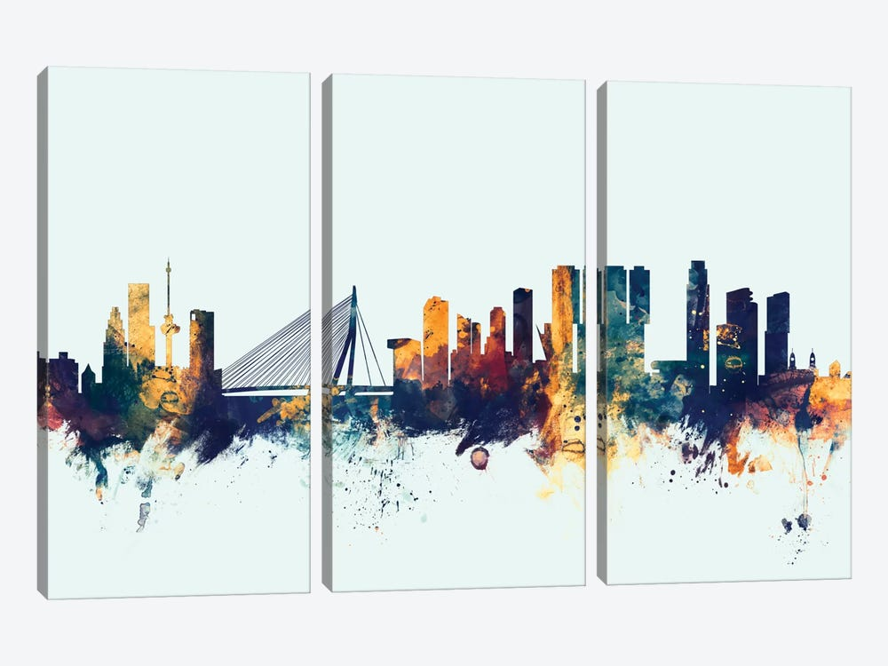 Rotterdam, The Netherlands On Blue by Michael Tompsett 3-piece Canvas Print