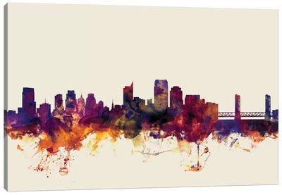 Skyline Series: Sacramento, California, USA On Beige Canvas Print #MTO408
