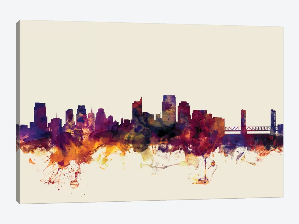 Sacramento, California, USA On Beige by Michael Tompsett 1-piece Canvas Art