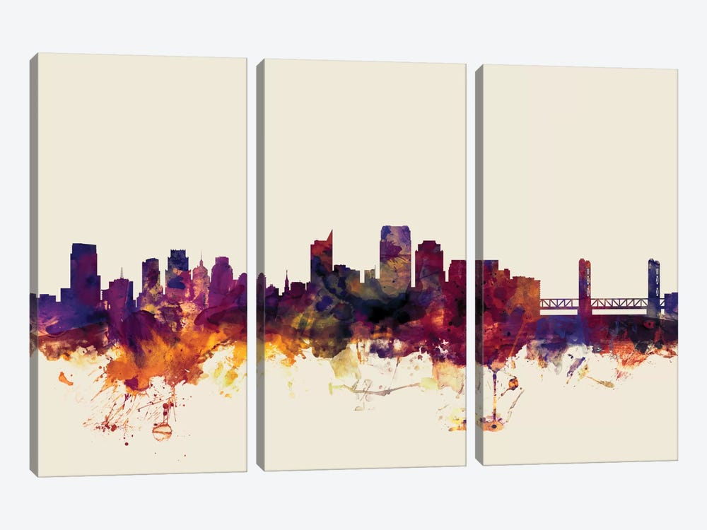 Sacramento, California, USA On Beige by Michael Tompsett 3-piece Canvas Artwork