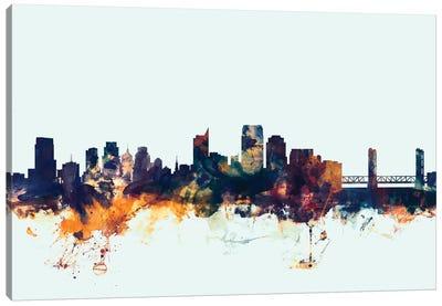 Skyline Series: Sacramento, California, USA On Blue Canvas Print #MTO409