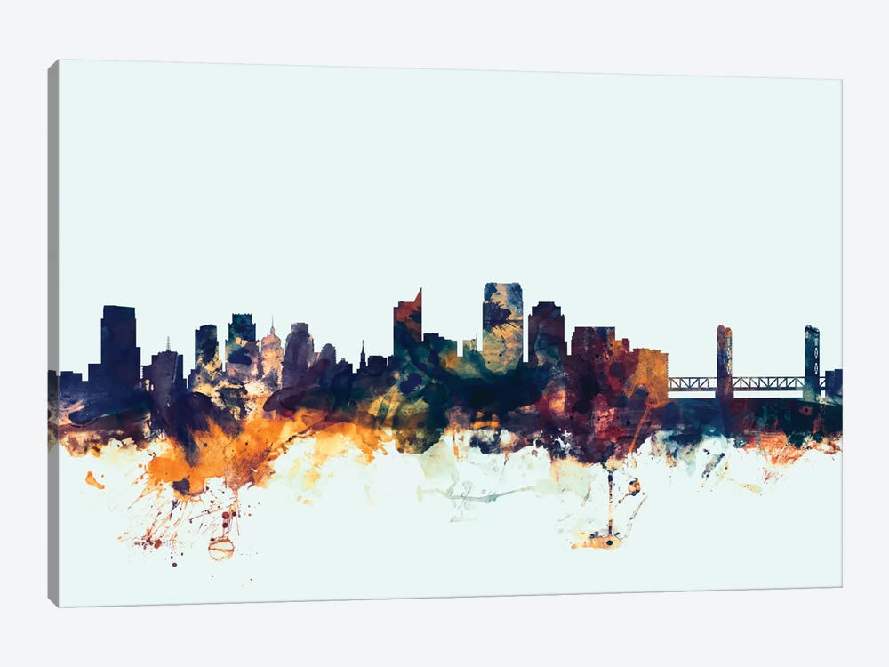 Skyline Series: Sacramento, California, USA On Blue by Michael Tompsett 1-piece Canvas Art Print