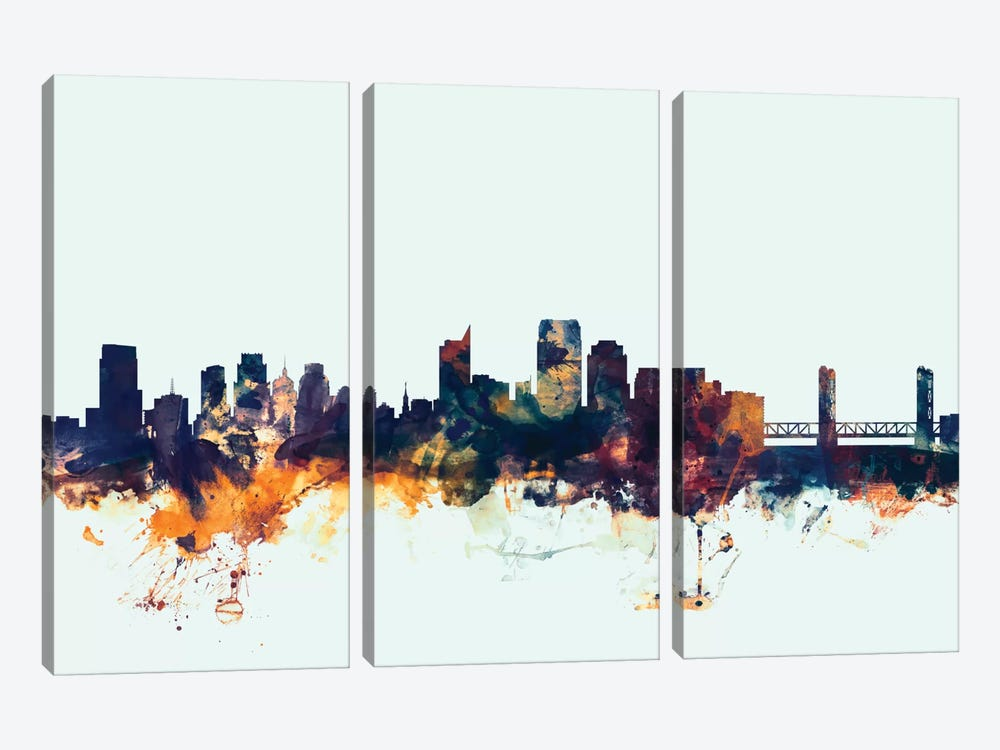 Skyline Series: Sacramento, California, USA On Blue by Michael Tompsett 3-piece Canvas Print