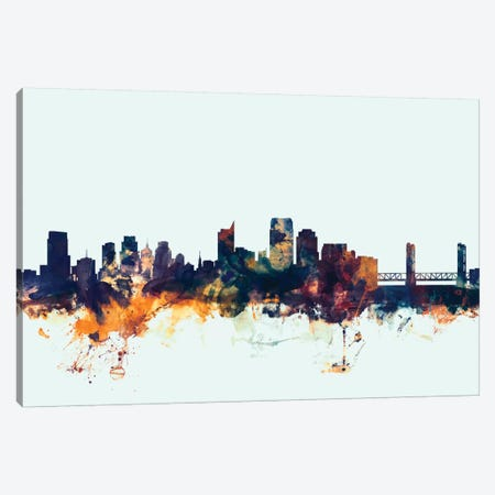 Sacramento, California, USA On Blue Canvas Print #MTO409} by Michael Tompsett Canvas Print