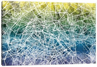 Color Gradient Urban Street Map Series: Paris, France Canvas Print #MTO40