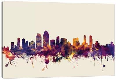 Skyline Series: San Diego, California, USA On Beige Canvas Print #MTO410