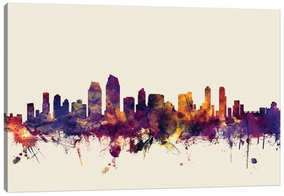 San Diego, California, USA On Beige Canvas Art Print
