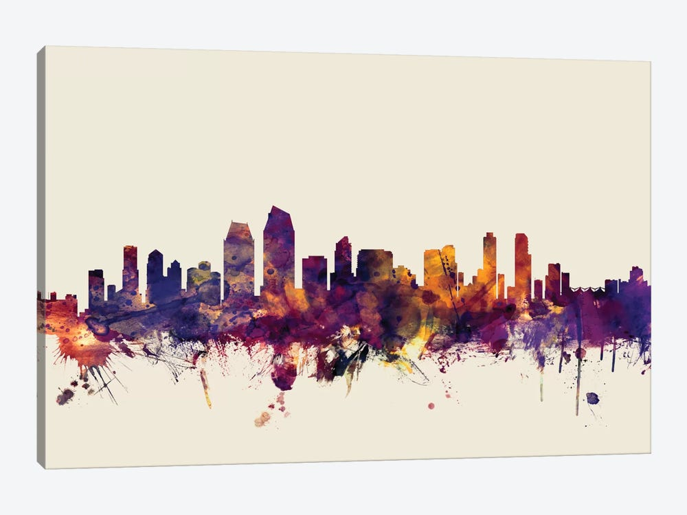 Skyline Series: San Diego, California, USA On Beige by Michael Tompsett 1-piece Canvas Print