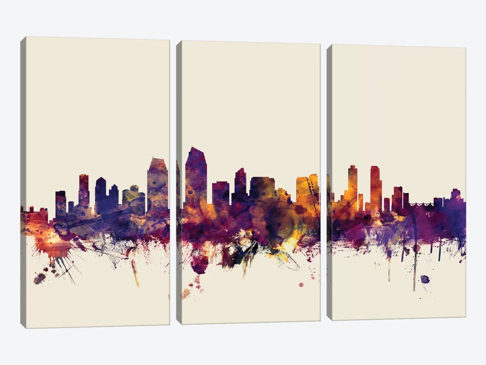 San Diego, California, USA On Beige by Michael Tompsett 3-piece Canvas Print