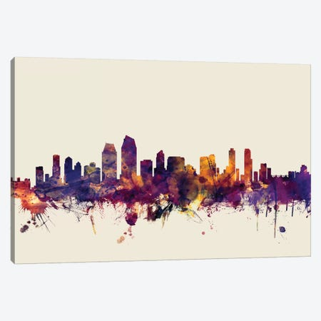 San Diego, California, USA On Beige Canvas Print #MTO410} by Michael Tompsett Canvas Artwork
