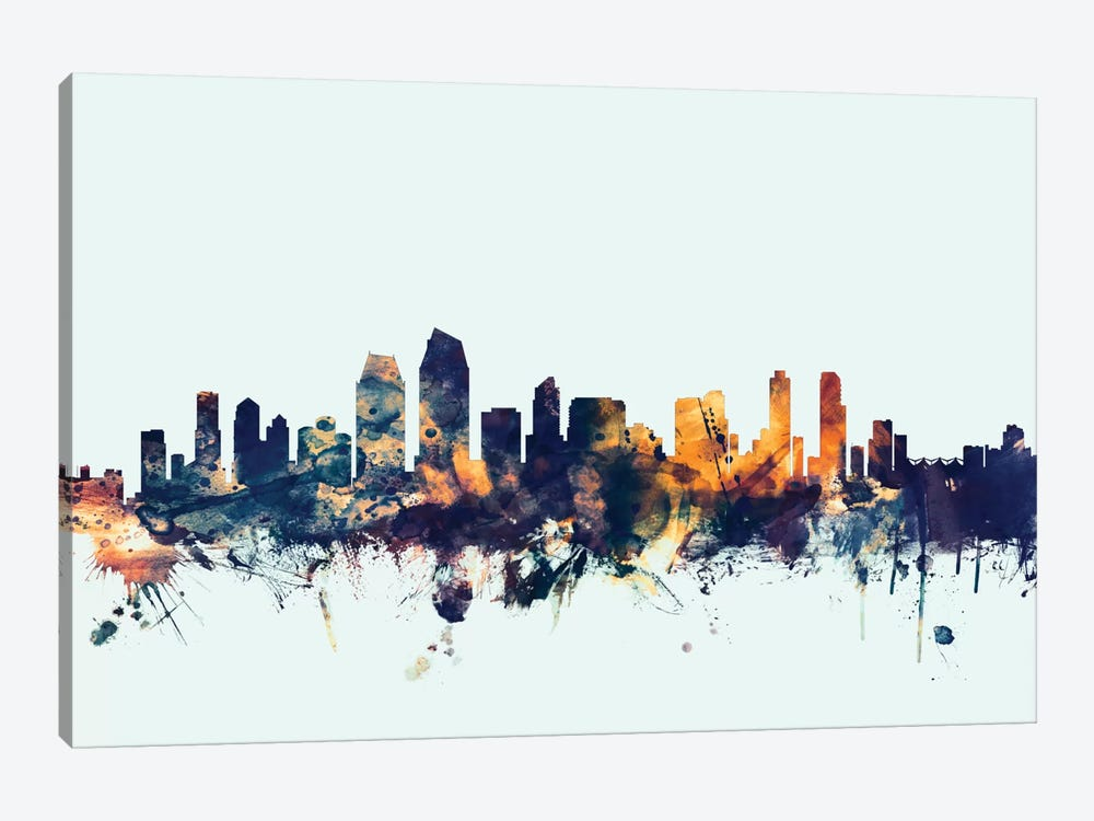 Skyline Series: San Diego, California, USA On Blue by Michael Tompsett 1-piece Canvas Artwork