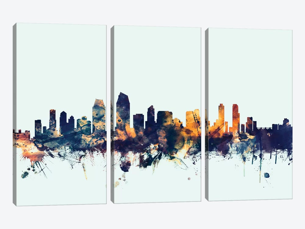 Skyline Series: San Diego, California, USA On Blue by Michael Tompsett 3-piece Canvas Artwork