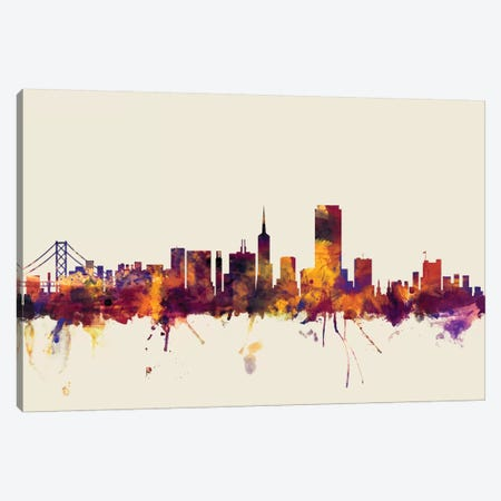 San Francisco, California, USA On Beige Canvas Print #MTO412} by Michael Tompsett Canvas Wall Art