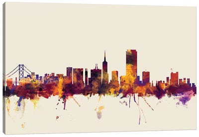 Skyline Series: San Francisco, California, USA On Beige Canvas Print #MTO412