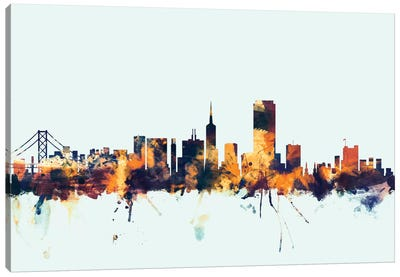 Skyline Series: San Francisco, California, USA On Blue Canvas Art Print
