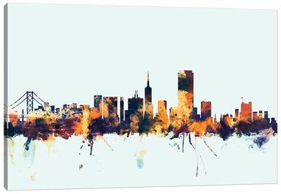 Skyline Series: San Francisco, California, USA On Blue Canvas Print #MTO413