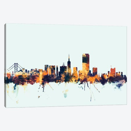 San Francisco, California, USA On Blue Canvas Print #MTO413} by Michael Tompsett Canvas Wall Art