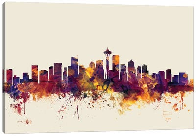 Seattle, Washington, USA On Beige Canvas Art Print