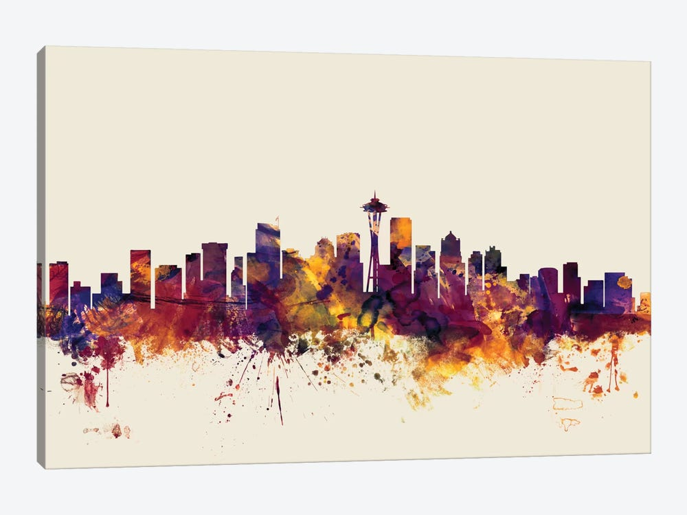 Skyline Series: Seattle, Washington, USA On Beige by Michael Tompsett 1-piece Art Print