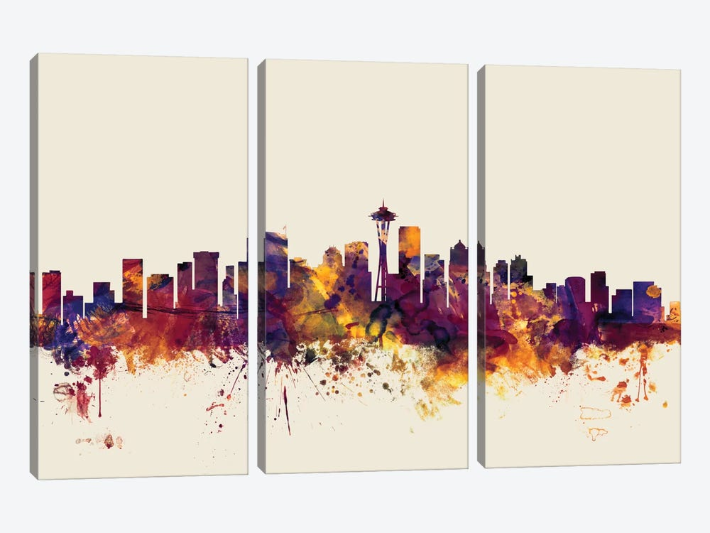 Skyline Series: Seattle, Washington, USA On Beige by Michael Tompsett 3-piece Canvas Print