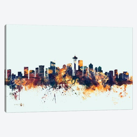Seattle, Washington, USA On Blue Canvas Print #MTO415} by Michael Tompsett Canvas Art Print