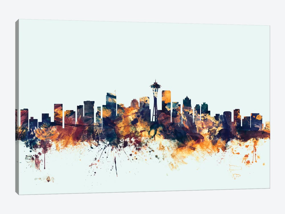 Skyline Series: Seattle, Washington, USA On Blue by Michael Tompsett 1-piece Canvas Art
